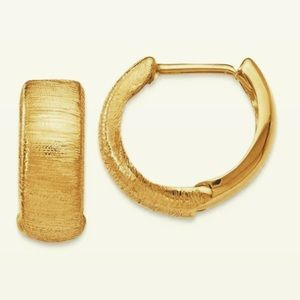Jewelry - 14K Yellow Gold Brush Satin Huggie Hoops